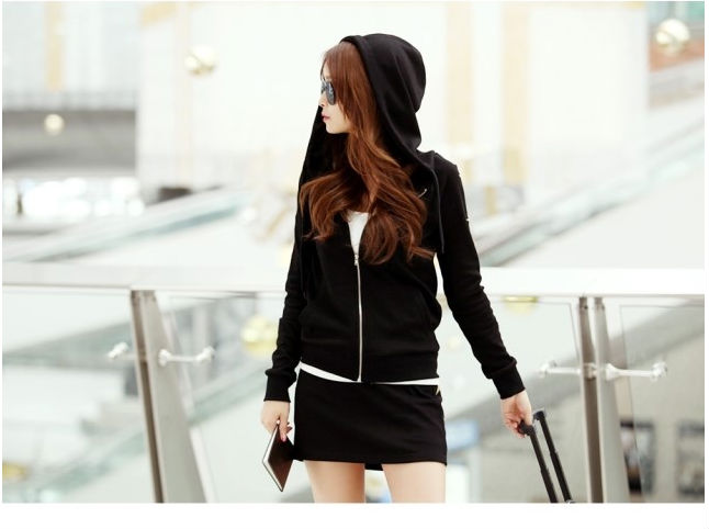6d198c654a Women Hoodies-Skirt Outfit Long Sleeves Short Skirt Front Zip Up Hoodie  Sport Running Wear