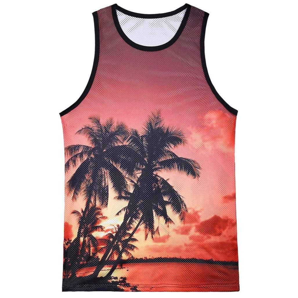8fdae40a52460 Get Quotations · Allywit Fashion Men s Sleeveless Tank Top Casual Printed  Hawaiian Scenery Slim Top Blouse