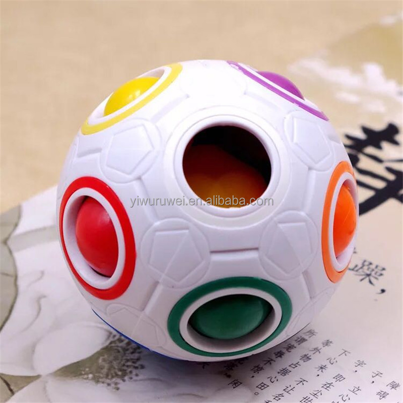 Hot Fun Creative Spherical Football Puzzles Magic Cube Speed Rainbow Ball