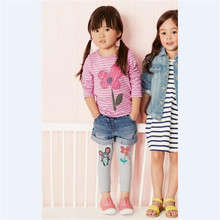 New Design Baby Children Top Cute Stripe Flower Printed Cotton Girl T Shirt