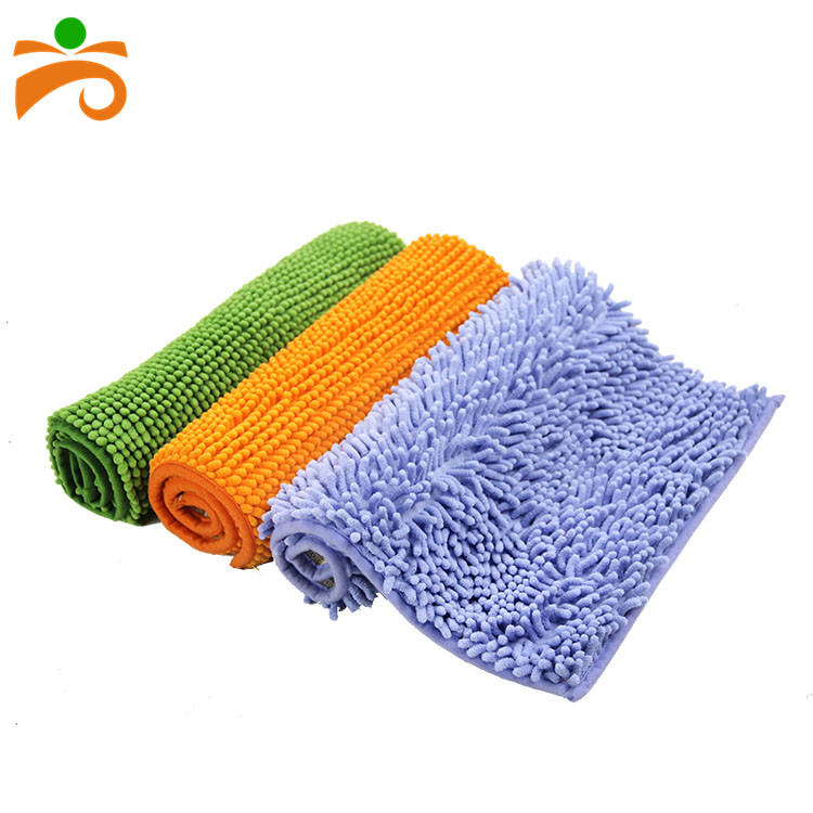 Hot Melt Backing Non Slip Microfiber Shaggy Chenille Karpet Mandi 40*60 Cm