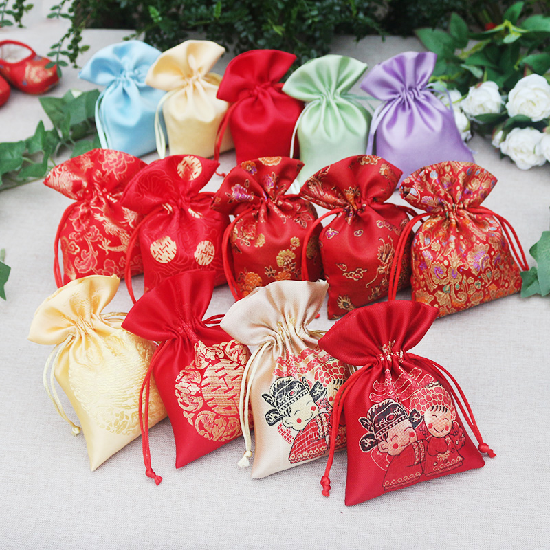 silk birthday gift bag pouch packing