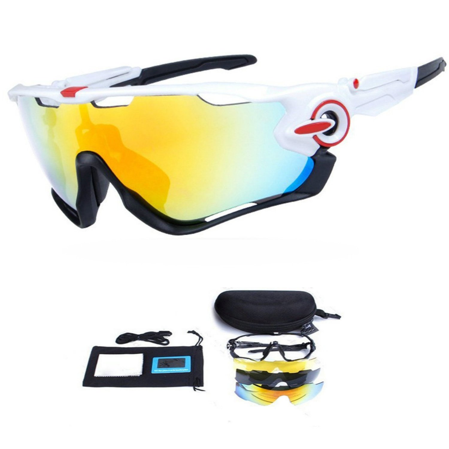 818740232cd Get Quotations · My case diy store Polarized Sports Sunglasses with 3  Interchangeable Lenses UV400 Protection Cycling Glasses With