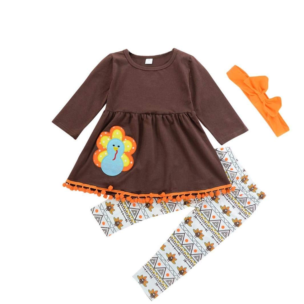 de9fb8f641d5 Get Quotations · Coohole Amazing Thanksgiving Toddler Kids Baby Girl  Outfits Clothes Dress Tops+Pants Outfit Set