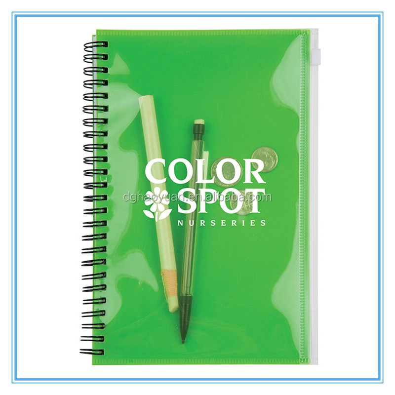 Cheap PP cover note book,new promotion spiral notebook for office supplies with pen