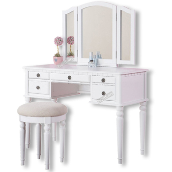Wooden Big Triple Mirror Dressing Table With Drawers Cheap Price