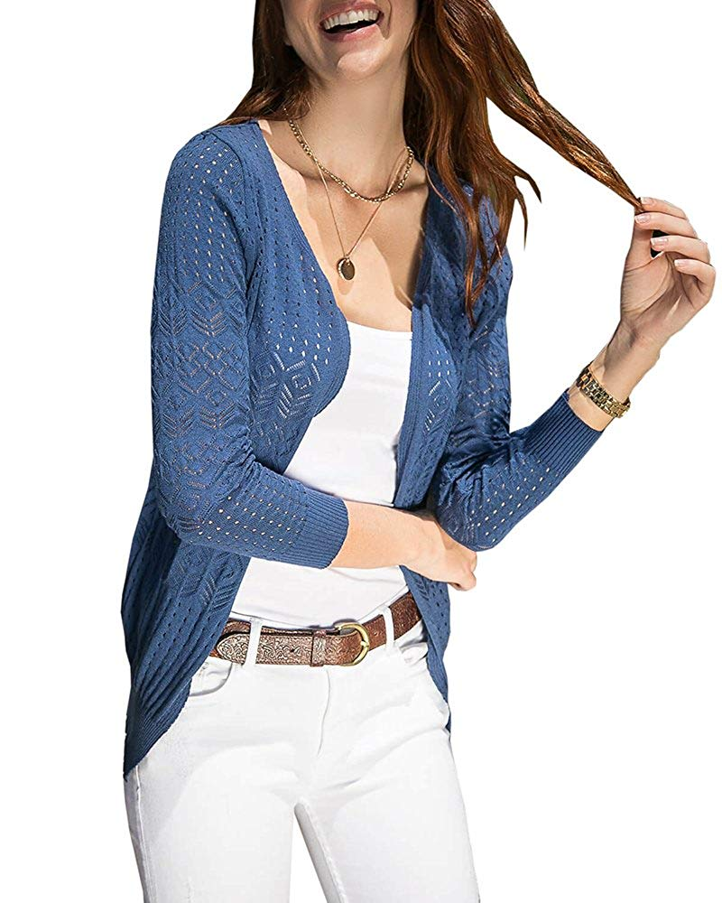 Pxmoda Women's Long Sleeve Cable Knit Lightweight Cardigan Sweater Casual Open Front Kimono Tops
