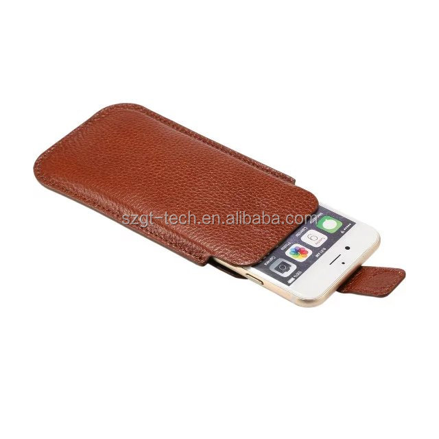 2016 newest design Cool real Leather Universal Mobile Phone Pouch Case for iphone 7 plus