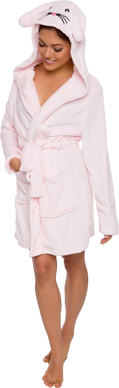 Silver Lilly Women's Animal Hooded Robe - Plush Short Bunny Bathrobe