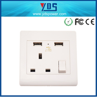 CE FCC ROHS certificated FREE SAMPLES provided UK type 13A electrical power socket with usb outlet customized