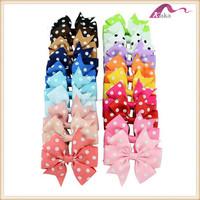 Women polka dot ribbon bow knot hair clip,fashion colorful dot print ribbon cut hair grip accessory