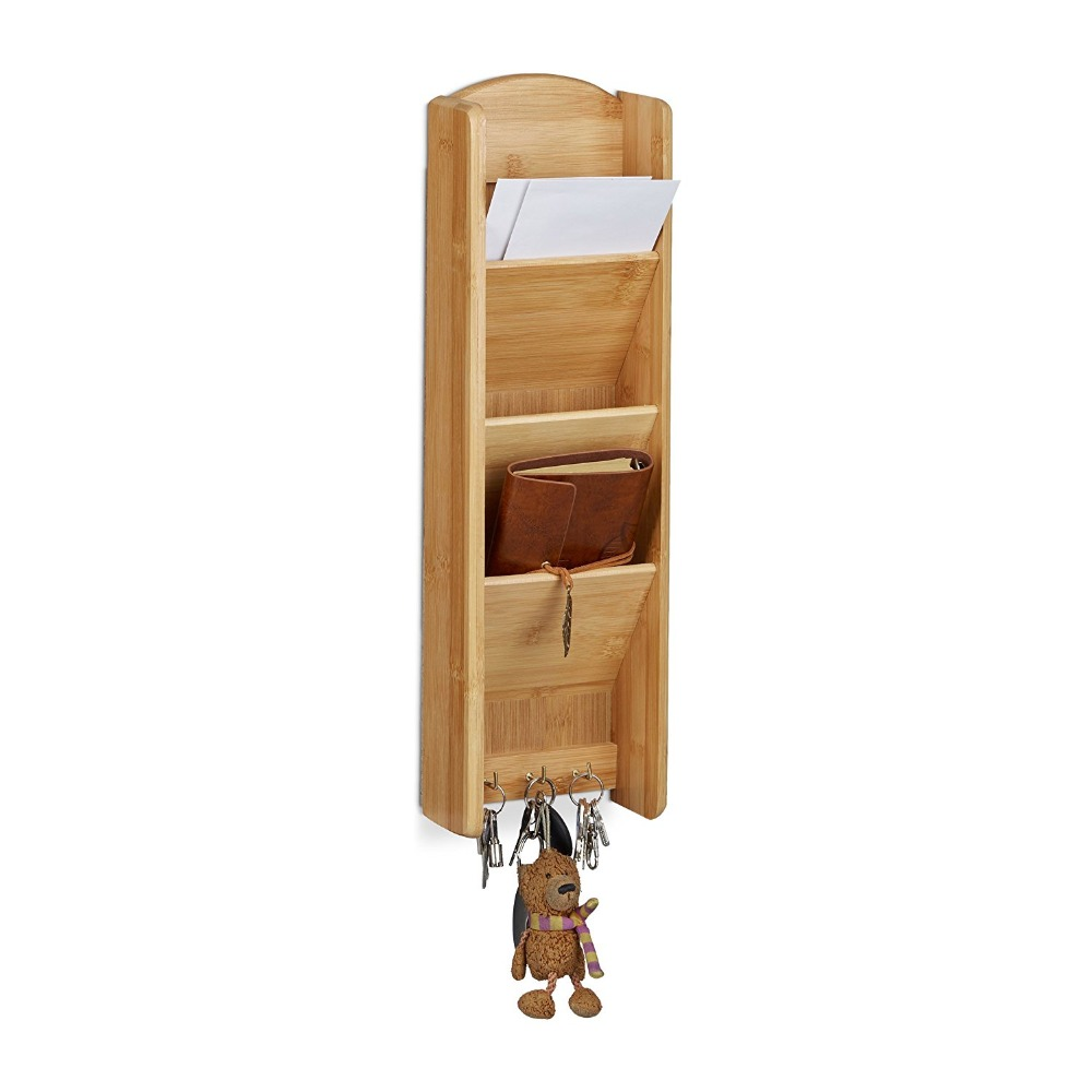 Bamboe Opknoping Muurbevestiging Bestand en Brief Organizer mail houder enterway wandplank Brief Rack 3-Tier met Sleutel haken