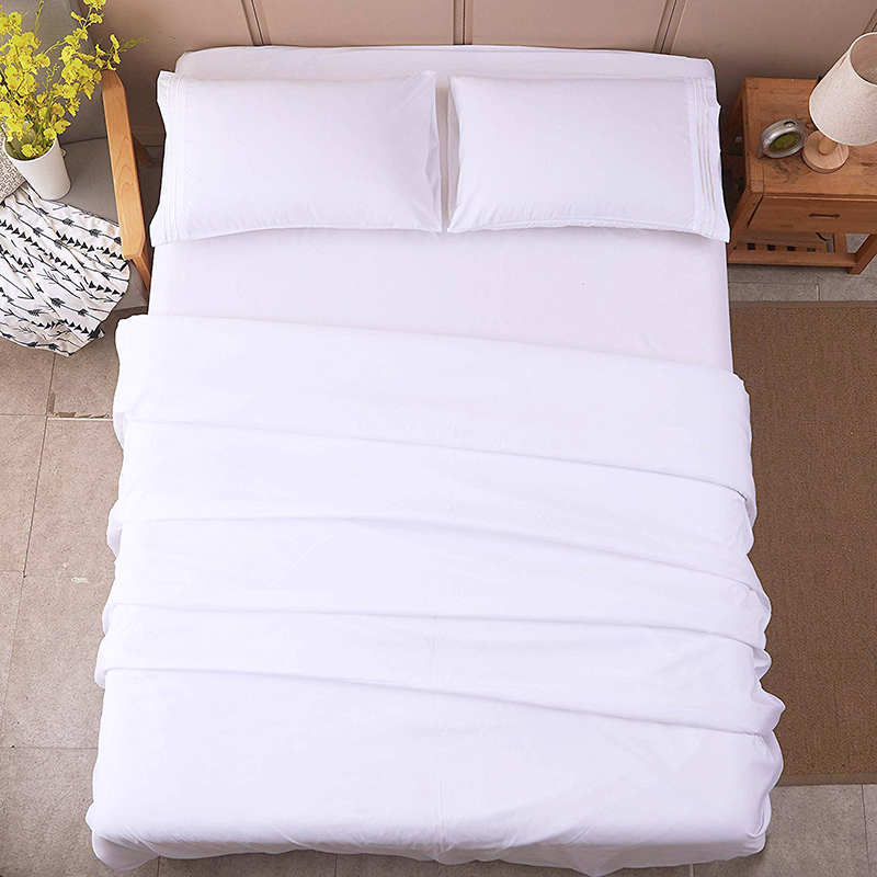 home textile 200TC white 100% cotton bed sheet set hotel