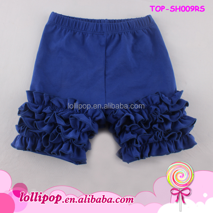 Wholesale Clothing Baby Girls Cotton Icing Shorts Solid Color Ruffle Shorts For Kids Girls