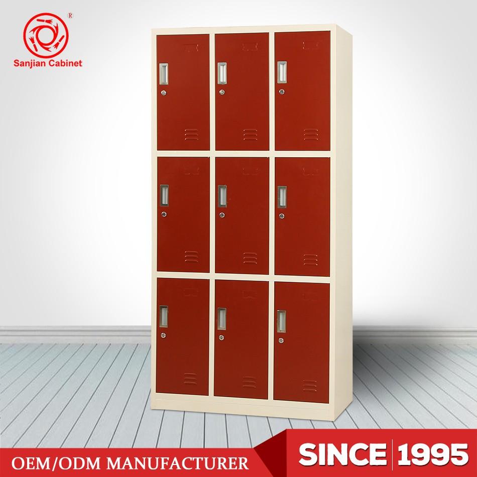 Kd steel easy assembled metal 9 door locker cabinet