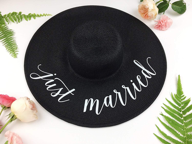 Get Quotations · Just Married Honeymoon Beach Floppy Hat cb9ed058589