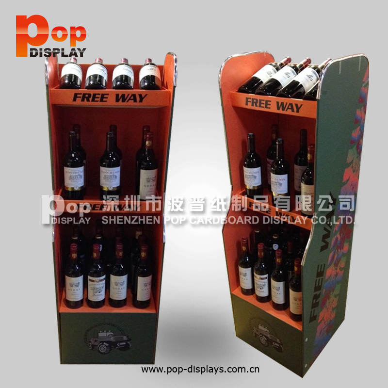 Cardboard Pop Floor Display Shelf Stand For Beer Wine Drinks Juices