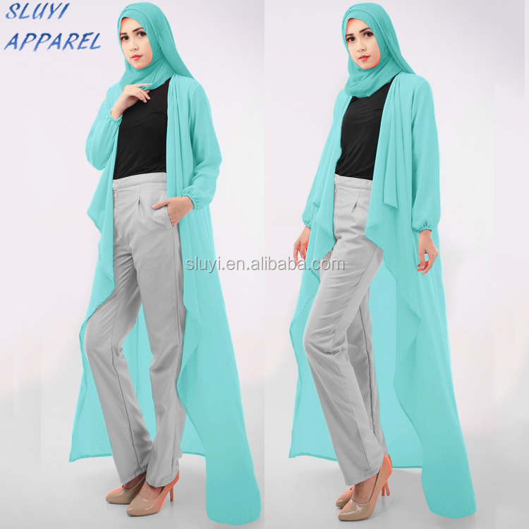 Asymmetric Long Cardigan And Pants For Muslim Women Transparent ...