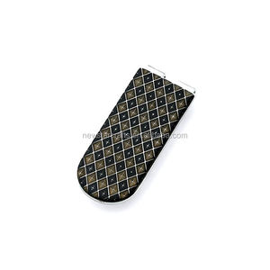 Blank black logo parts plastic stainless steel money clip