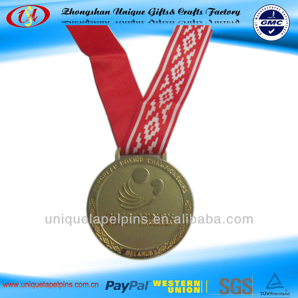 Custom Gold engraving medal and ribbons