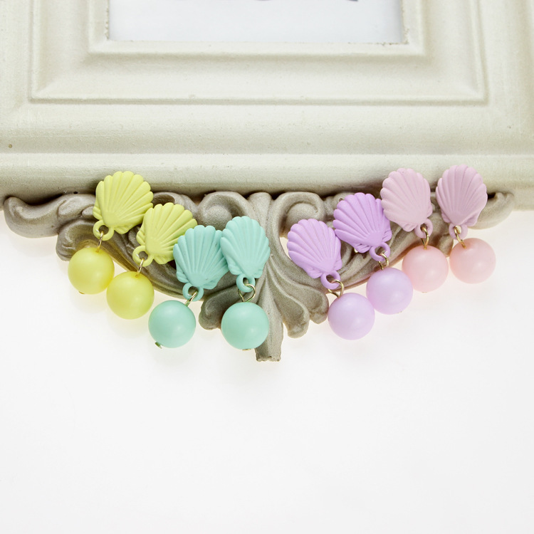 New 2014 fashion Korean jewelry cute candy pink brand bead shell statement stud earrings brincos for women sale 24 pair A692