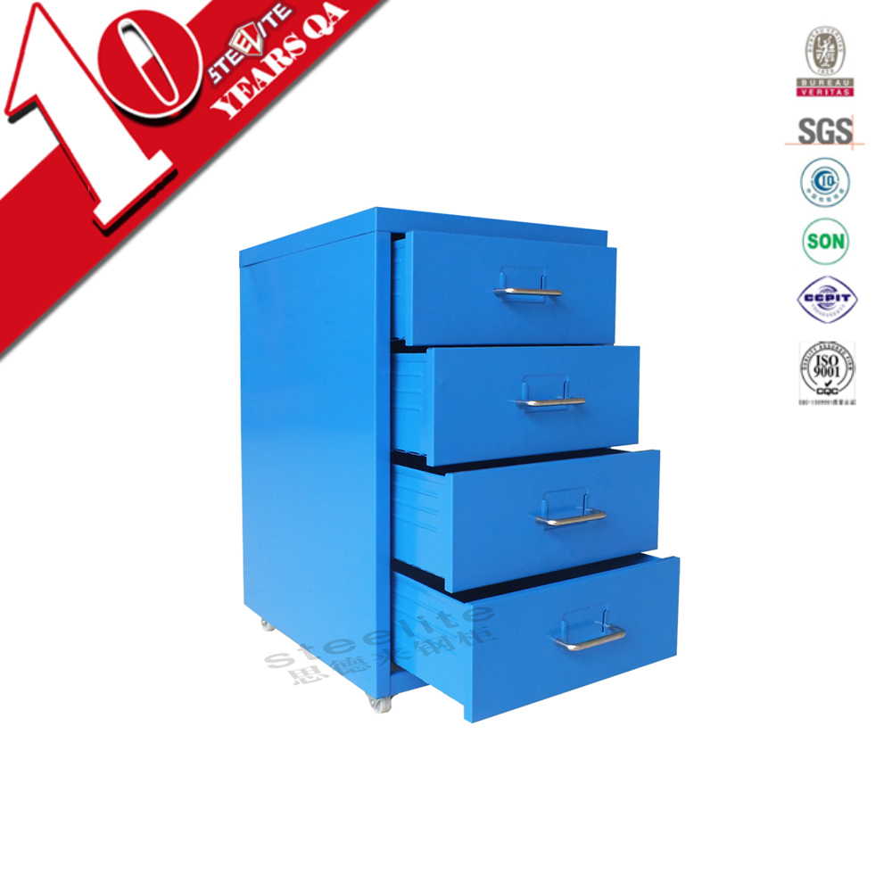 4 laden blauwe metalen verrijdbaar ladeblok kast stalen for Ladeblok onder bureau