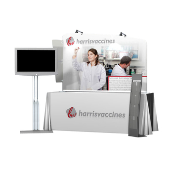 Custom trade show table top advertising display stand with table throw