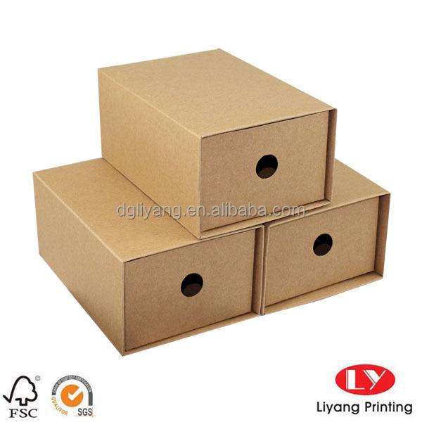 Kraft papier coulissant bo te chaussures de tiroir pour chaussures en gros d 39 emballage caisses - Boite a chaussure en carton ...