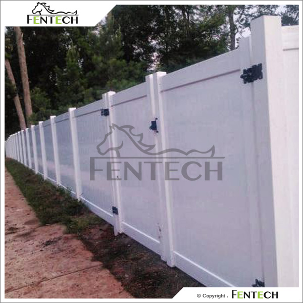 Fentech White Flat Top Vinyl Privacy Fence pvc slat for fence