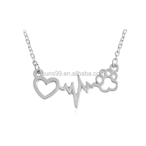 Wholesale Stainless Steel Cute Dog Cat Bear's Paw Print Heart Pendant Wave Line Electrocardiogram Ecg Necklace