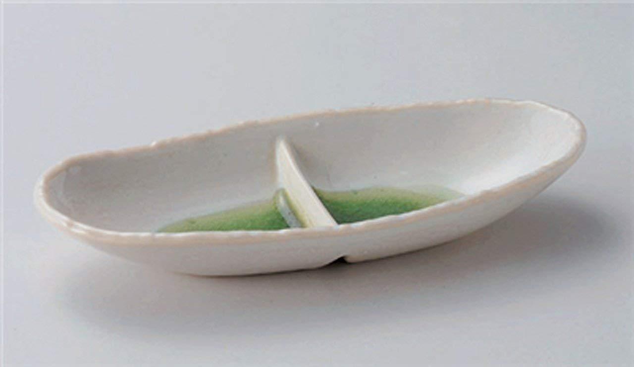 MINO-YAKI KOBIKI-GREEN Jiki Japanese traditional Porcelain Set of 2 Sashimi Plate