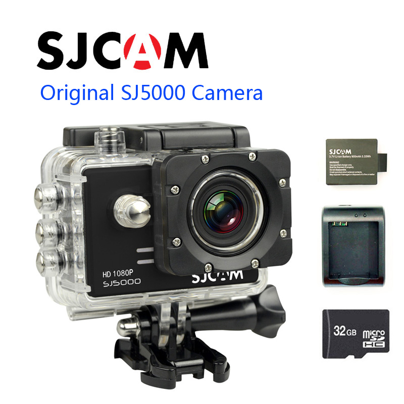 Free shipping!!Original SJ5000 SJCAM Sport Action Camera GoPro Style Cam +Extra 1pcs battery+Extra Battery Charger+ 32GB TF Card