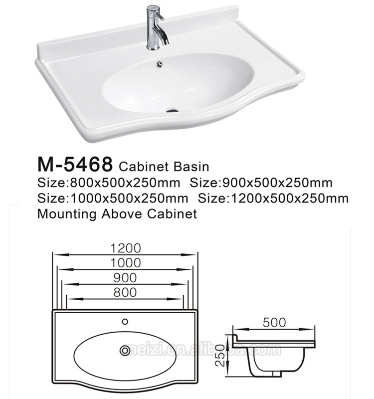 Ceramic sanitary ware modern integral bathroom vanity sink