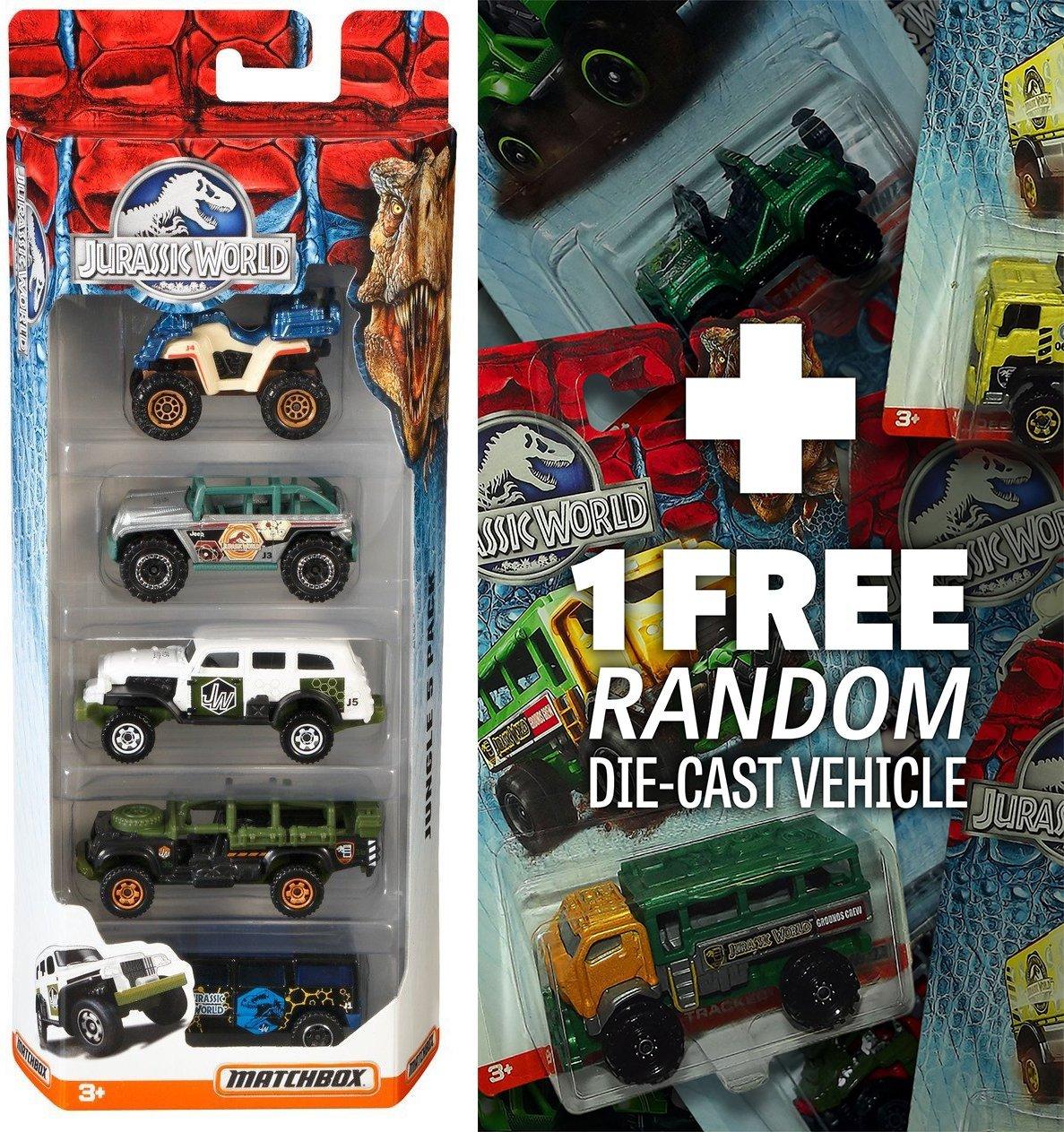 Jurassic World Land 5-Vehicle Pack (NOT RANDOMLY PICKED) + 1 FREE Official Jurassic World Matchbox Die-cast Vehicle Bundle [Set# CJM06]