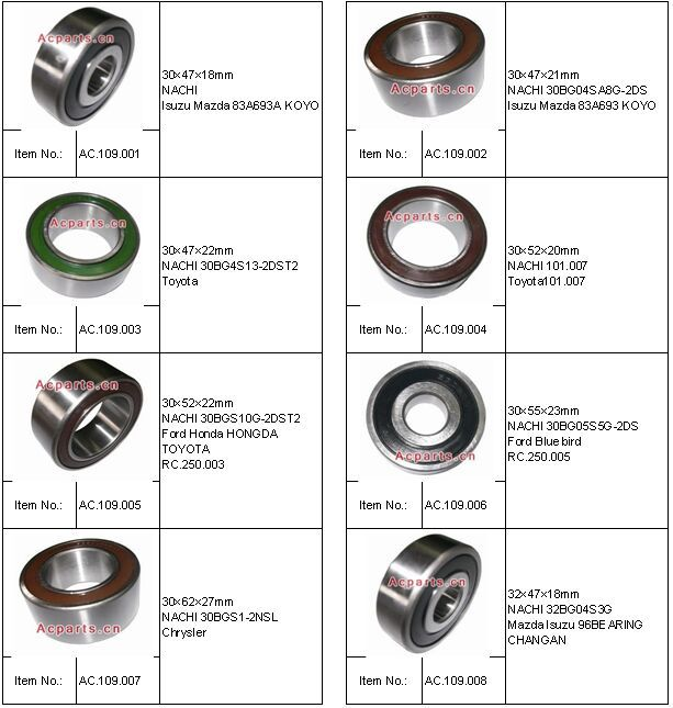 Auto air conditioner compressor bearing NACHI 65576846559496 BUICK RC.250.002 40*62*20.6mm