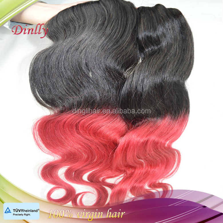 Fashion design red color ombre two tones unprocessed virgin Brazilian hair extesnion