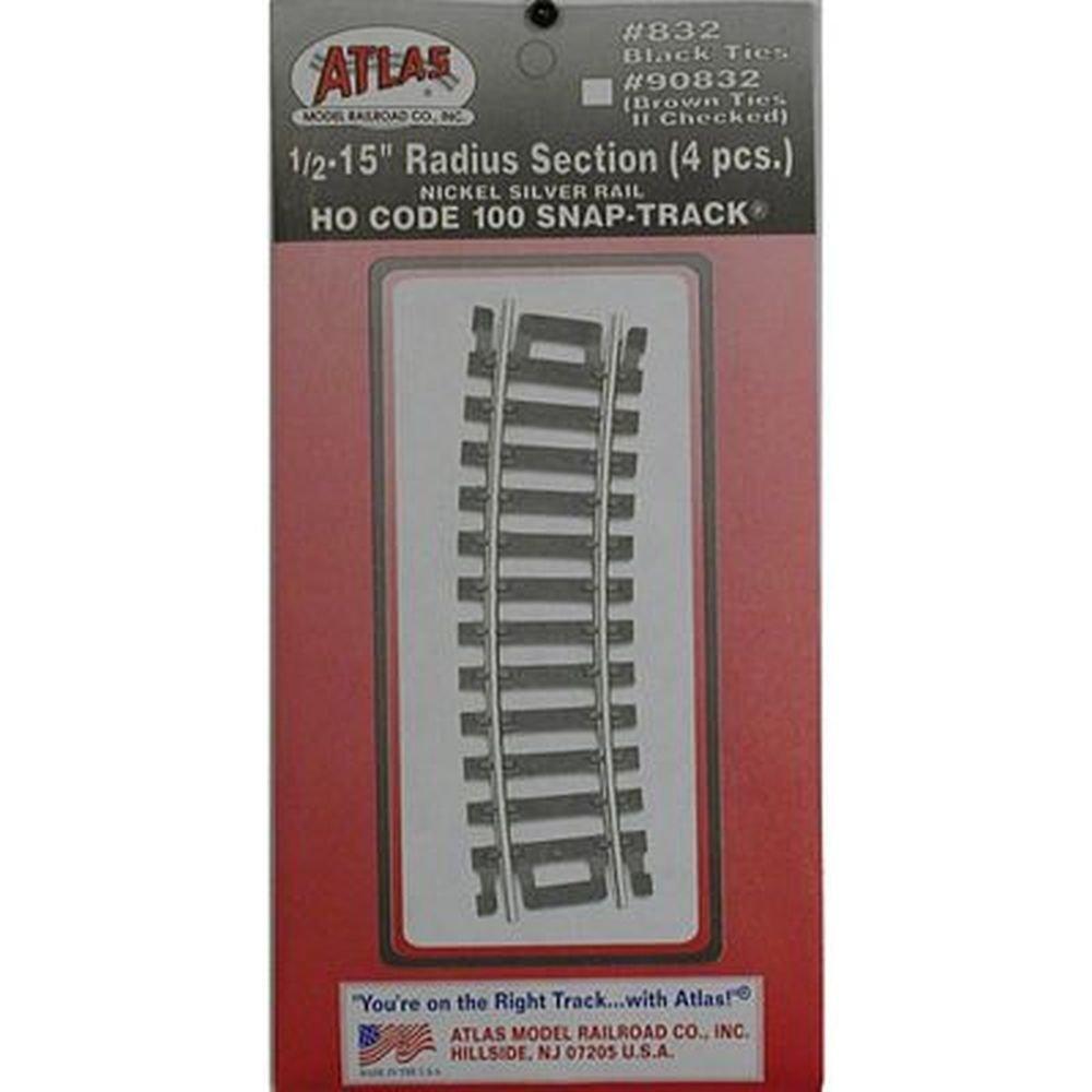 """Code 100 Nickel Silver 1/2-15"""" Radius Snap-Track HO Scale Atlas Trains"""