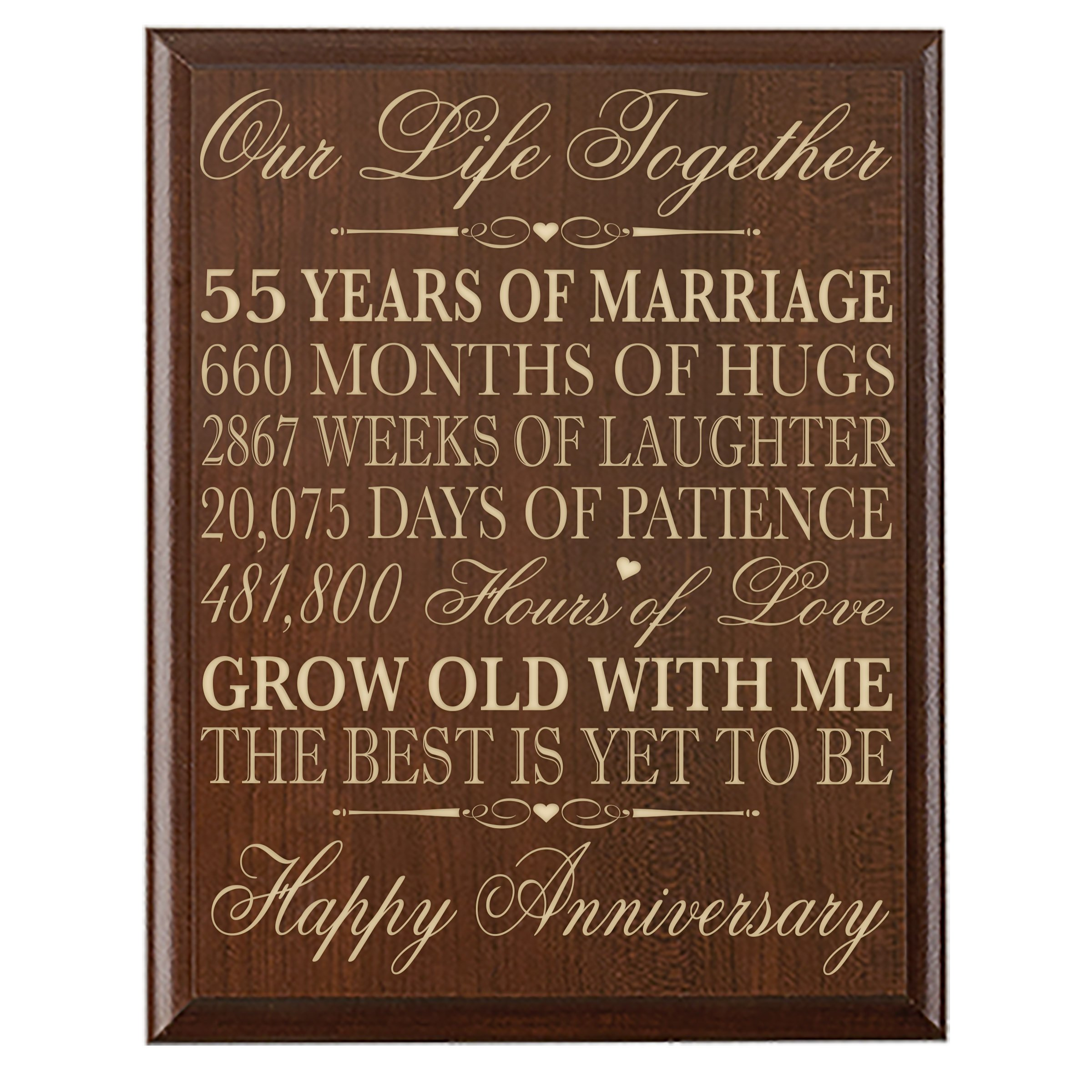 55th Wedding Anniversary Wall Plaque Gifts for Couple, 55th Anniversary Gifts for Her,55th Wedding Anniversary Gifts for Him Wall Plaque Special Dates to Remember By Dayspring Milestones (Cherry)