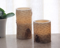 SET OF 2 LED FLAMELESS BIRCH CANDLE, FLAT TOP WITH AMBER LED, BATTERY POWERED, 8.5x11/15CM