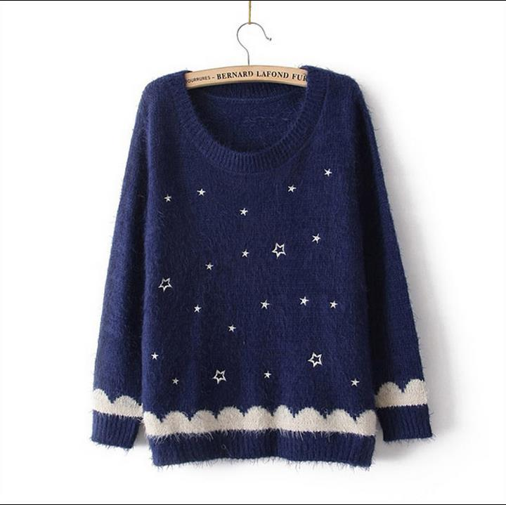2015 Winter Women Casual O- Neck Star Pattern Mohair Knit Jumper Pullover Sweater Tops Coat Women's Clothes Sweater femininas