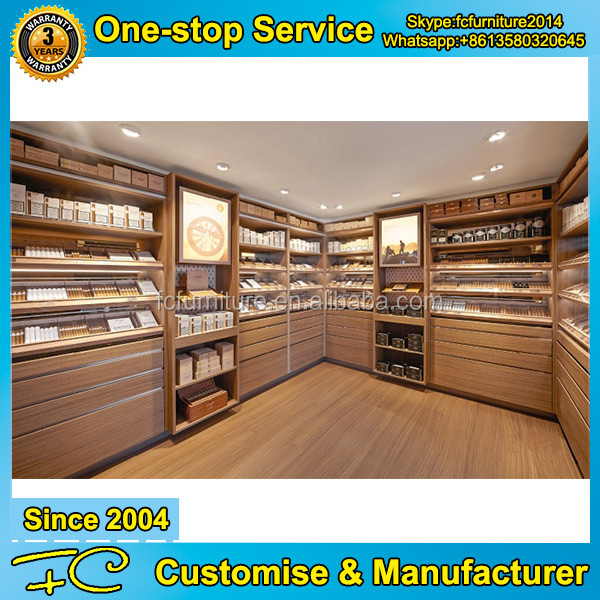 High end wood tobacco store design with cigarette display cabinet