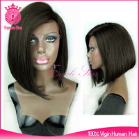wholesale side part bob style 10 inch brazilian human hair lace front wig