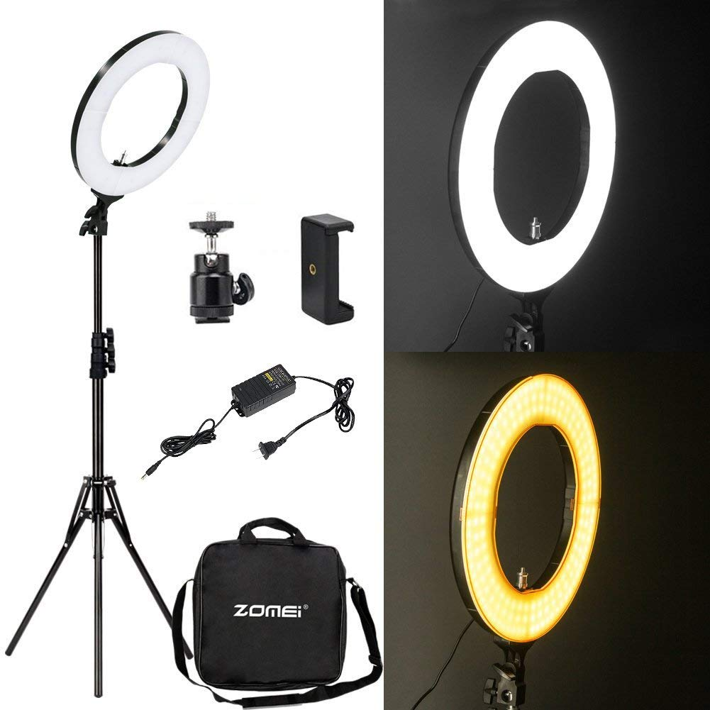ZoMei 14 inch Dimmable Fluorescent Camera Cellphone Ring Light with Stand for Portrait YouTube Video Shooting