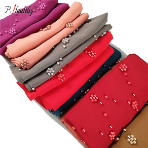 P-Healthy latest style plain chiffon accessories corresponding color beads muslim hijab