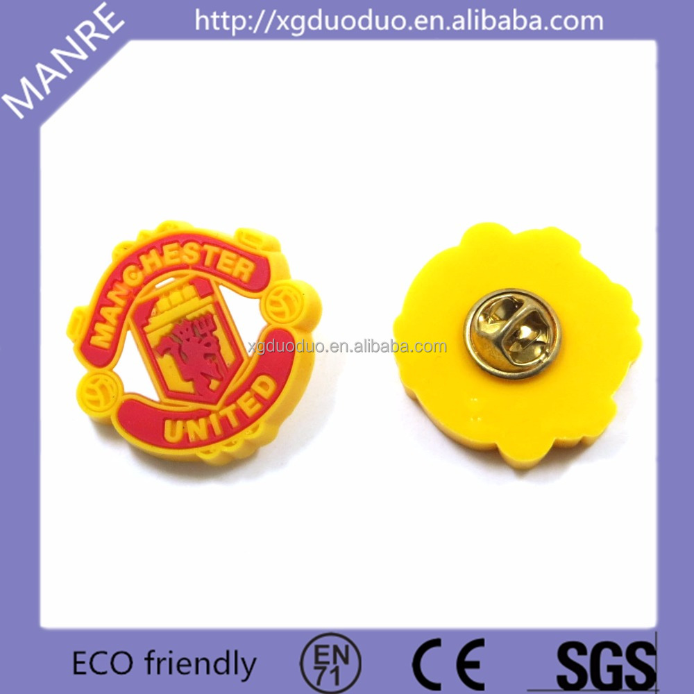 Fancy Letter Printed Custom Shaped Rubber Pin Wholesale PVC Metal Round Badge