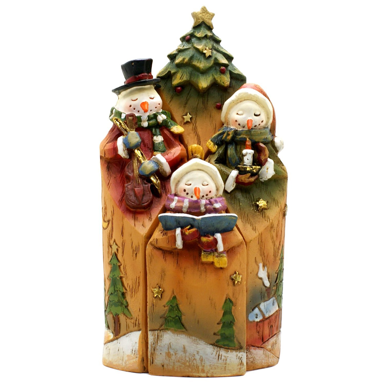 Roman Christmas Snowman Family Nesting Figurines: Set Of 4 Wood-Carving Styled Figurines