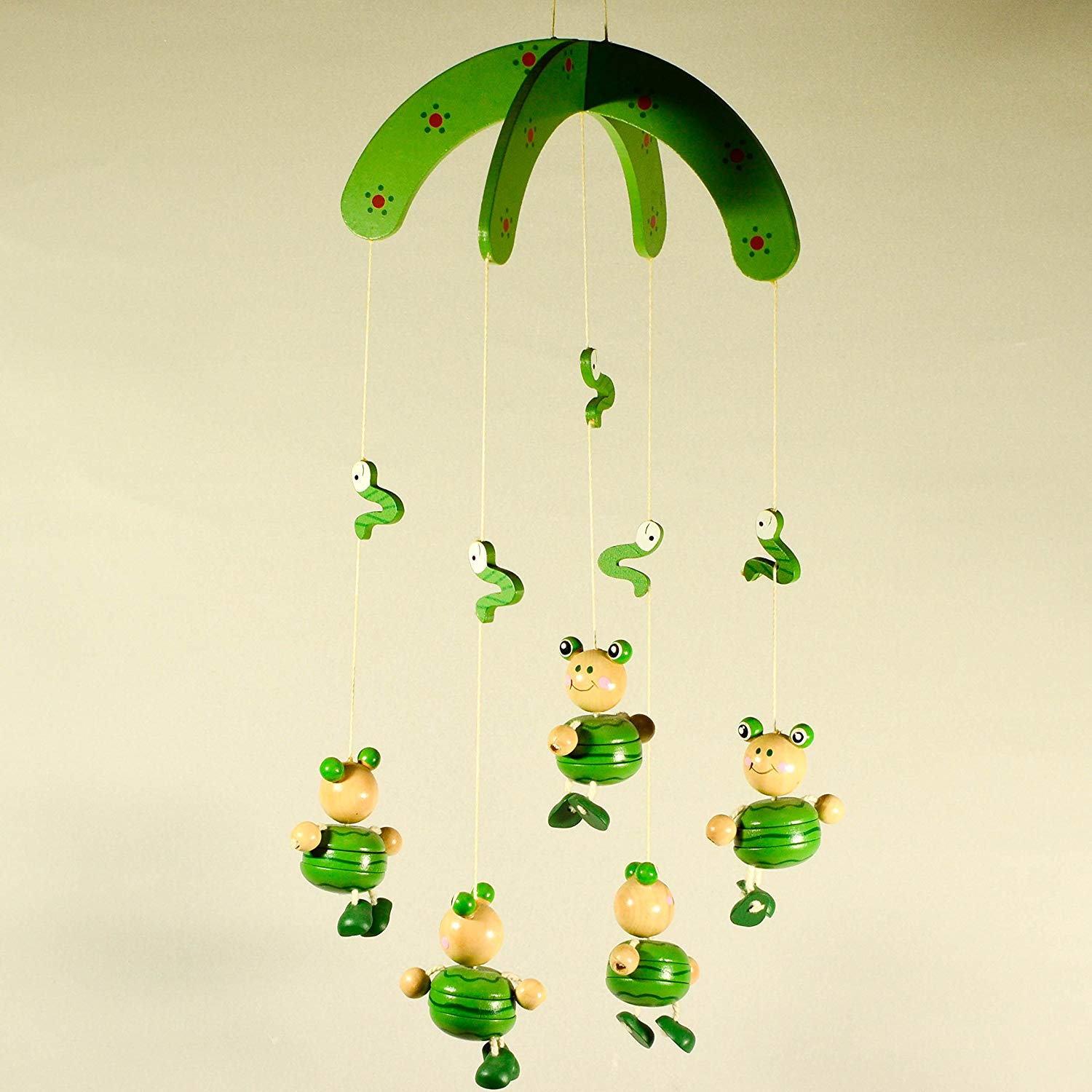 Wooden Hanging Mobile with Frogs - Nursery Decor - Animal Mobile Ornament - Baby Room Decor
