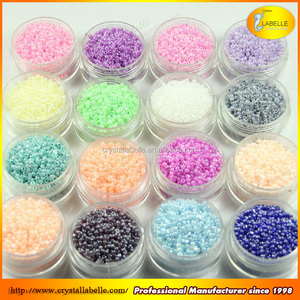 Glass Seed Beads with Plastic Round Color Mixed Colors