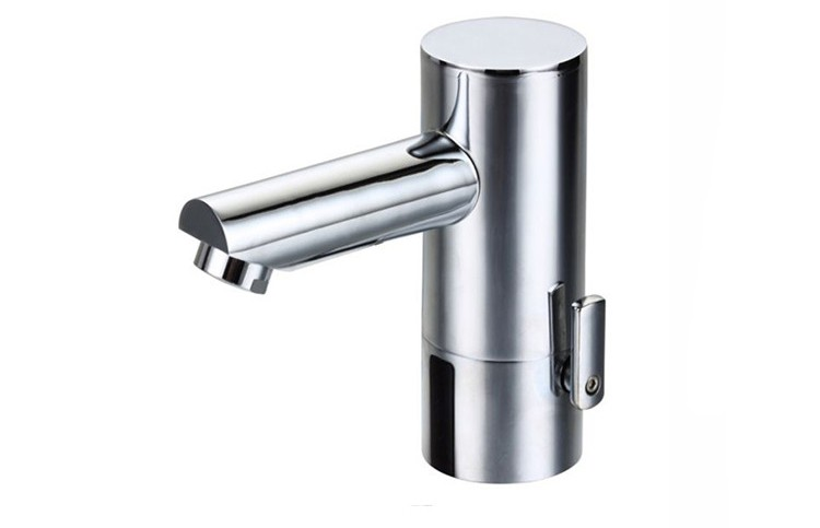 Automatic hot and cold sanitary basin water tap