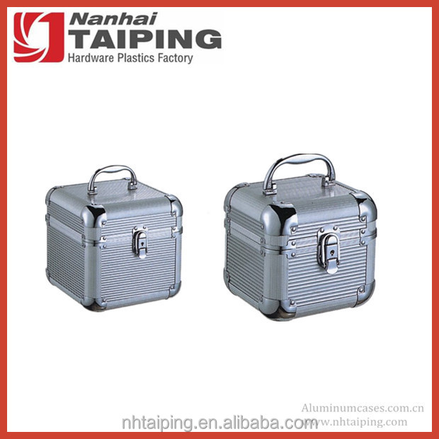 Small Lockable Silver Textured Aluminum Tool Case Box with Rounded Corners